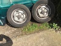 2x Transit tyres on rims 195,70,15c less then year old