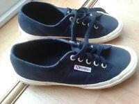 Pair of blue Superga canvas deck shoes - Unworn Size 5