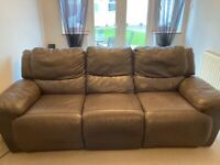Brown leather electric reclining 3 seater sofa