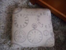 small clock print foot stool