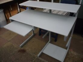 computer desk lovely light grey(rear height 94cms)(front height 78 cms)(depth 57 cms)(100 cms wide).