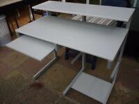 computer desk lovely light grey(rear height 94cms)(front height 78 cms)(depth 57 cms)(100 cms wide).