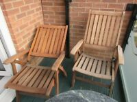Teak reclining garden chairs