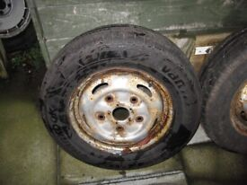 4 transit wheels and tyres, 2 nearly new 2 part worn