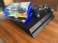 Jet Black PS4 500GB + 1 controller + 5 games