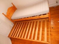 Single Pine Bed with Pull Out Trundle Guest Bed Underneath