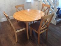 Pine wooden dining table & chairs