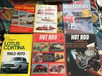 Joblot of hotrod magazines and Lotus Cortina book