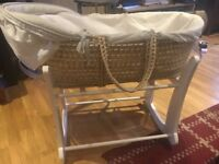 Moses basket with rocking stand in great condition
