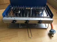 Campingaz Camping Chef, 2 ring gas burners and grill comes with tube and attachment + gas bottle