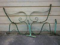 GARDEN BENCH ENDS (Genuine Wrought Iron) Circa 1920's