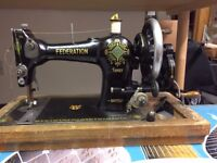 Vintage hand sewing machine Federation family