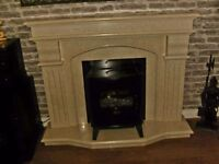Real cream marble fireplace and insert excellent condition