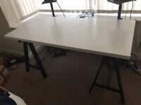 Ikea Linnmon (150x72) table top / desk + 2 Oddvald trestles