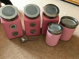 Pink Tea/Coffee Canisters & Utensil Pot