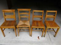 4 VINTAGE CHURCH / CHAPEL CHAIRS. Delivery possible.