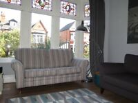 Grey Striped NEXT 2 Seater Sofa On Castors