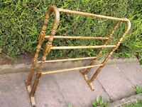 LOVELY OLD LARGE WOODEN TOWEL RAIL