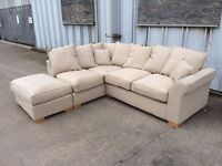 Beige Corner Sofa with Footstool - New - £499 Including Free Local Delivery