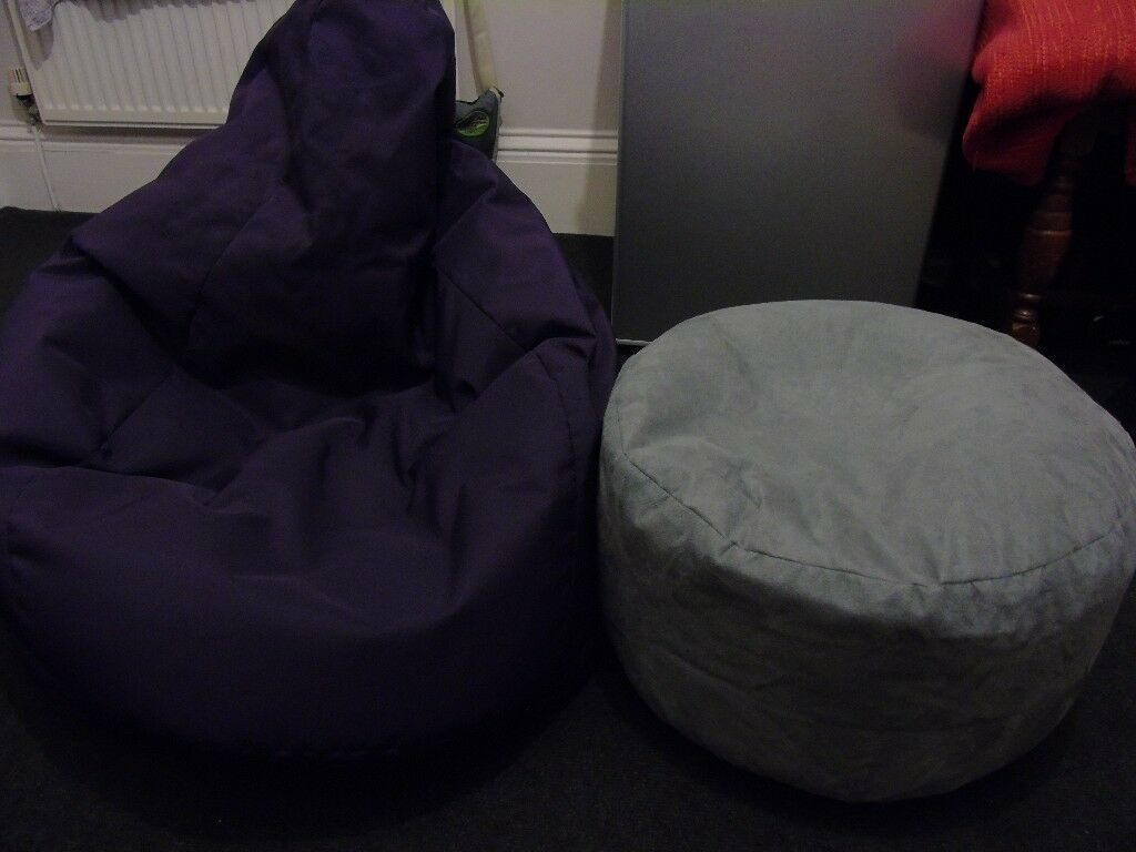 Out Door Bean Bag Chair Suede Foot Stool Neck Support Cushion