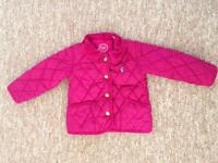Girls BABY JOULES Pink Quilted Warm Coat Jacket Age 9-12 Months