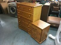 PINE AND PINE LAMINATE BEDSIDE TABLE AND CHEST OF DRWWERS.(delivery for a small charge )