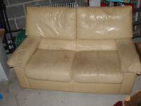 Cream 2-seater leather sofa