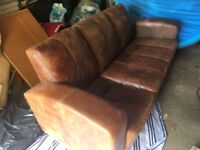 Vintage/Retro 3 Seater DFS Brown Distressed Leather Sofa