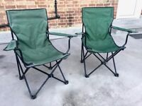 Garden chairs, festival chairs, camping chairs. Two chairs for £10.00