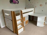 Stompa Curve midsleeper bed + pullout desk + cube with 2 oak doors + 3 drawer chest
