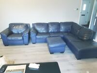 Navy Leather Corner Sofa, Armchair and poof - moderately used