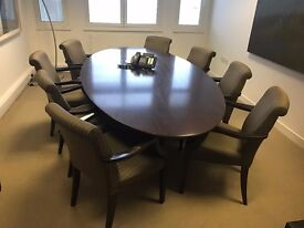 Brown Oval Table With 8 Stunning Bespoke Keilhauer Chairs
