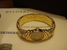 BULGARI LADIES DIAMOND ENCRUSTED BJ01 PARENTESI 18k GOLD WATCH VALUED £28,000