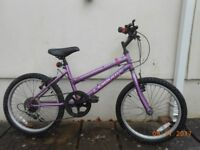 Universal Girls Bike 20 inch wheels purple £35 shimano gears age 6-9 sadly too small