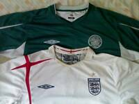 Celtic Green + England White Umbro Football Shirts Mens Size X-L
