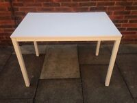 Dwell Dining Table White Wood Top with Metal Legs Solid and Sturdy Table Seats 6 VGC