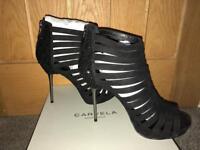 Carvela suede caged peep toe shoe boots
