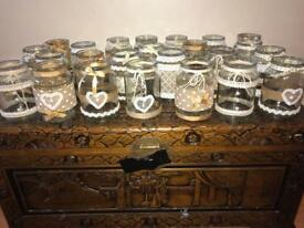 Rustic wedding jars. Lace, string, hessian, pearls.