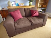 Matching pair of brown fabric sofas - excellent condition