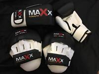 Maxx Pro Curved Focus Pads, 10 oz Boxing Gloves and Hand Wraps