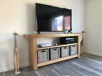 Exclusive Hand-Crafted Oak Sleeper TV Unit With Baskets. Made to order
