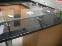 kitchen island or breakfast bar glass shelf ex kitchen display