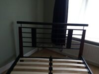Metal and wood double bed frame