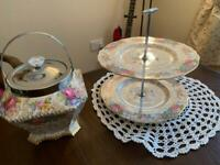 Lovely vintage Double cake stand and Cookie Jar.