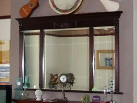 Large overmantel Dark wood ornate Mirror