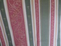 4 pairs traditional lined curtains pink, green, cream Regency stripe