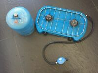 Camping Gaz 2 ring stove with gas bottle