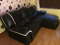 Black Leather Sofa & Electronic Lazy Boy Recliner
