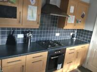 Kitchen with large fridge freezer and dishwasher
