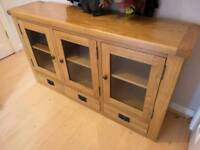 Solid Oak Sideboard with glass doors